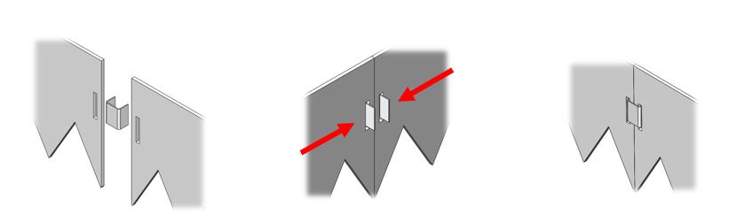 Соединение отдельных металлических бордюров при помощи скобы